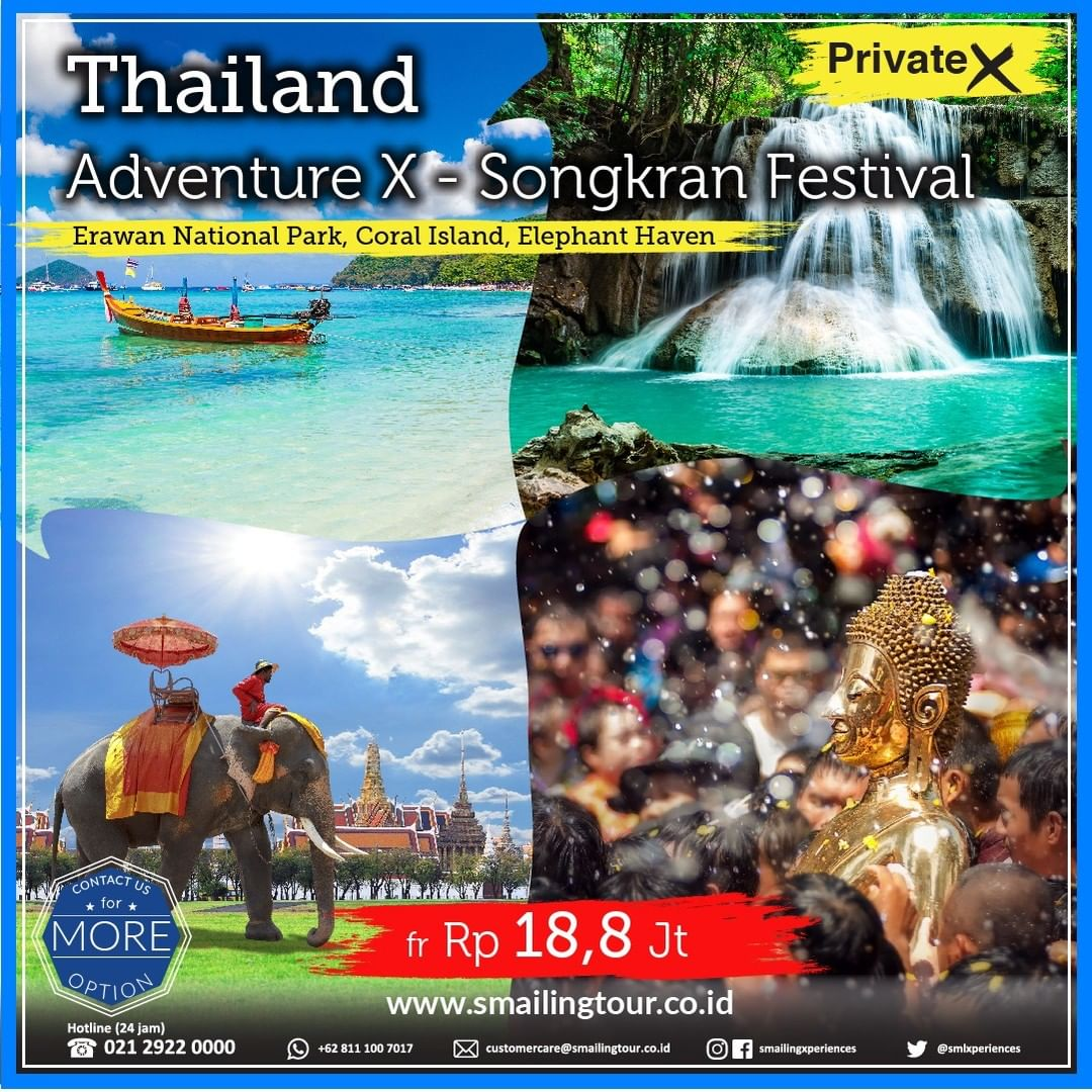 Promo Wisata Traveling Thailand Adventure & Songkran Festival April 2020